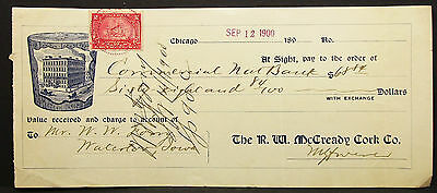 US Illustrated Check Commercial National Bank Chicago 1900 USA Scheck (H-8129