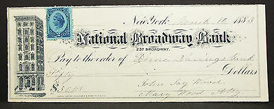 US Check National Broadway Bank NY Inter. Rev. Stamp 2c 1883 USA Scheck (H-8160