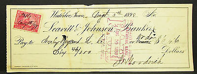 US Check Leavitt & Johnson National Bank Waterloo Paid Stamp USA Scheck (H-8109+