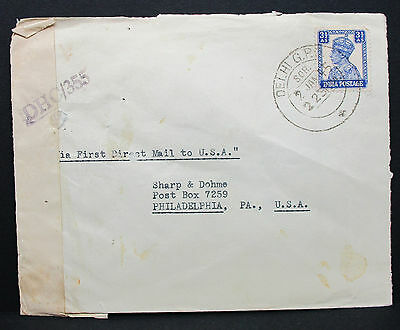 India Cover Delhi USA First Direct Mail Passed Censor Stamp Indien Brief (H-7738