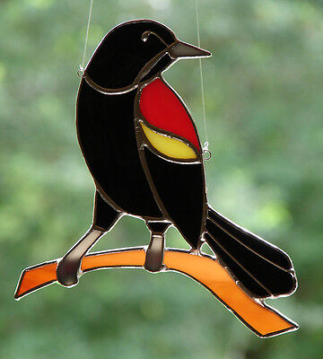 Stained Glass Red Winged Blackbird