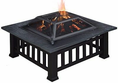 "32"" Outdoor Metal Firepit Backyard Patio Garden Square Stove Fire Pit W/Cover"