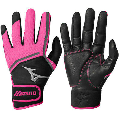 Mizuno Finch Women's Fastpitch Softball Batting Gloves - Black/Pink - XL