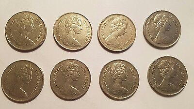 8 x Old 10p Coins 1968 1969 1970 1973 1974 1975 1976 1979 Large Decimal 10 Pence