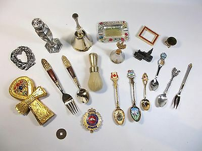 Vintage Collectable Ornaments Brass Gold/Silver Plate Spoons Bells Badge