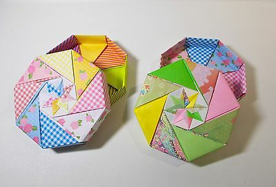 "Hand Made Crafts 2 Origami 5.5"" 8 Sided Multi Pattern  boxes w/lids"