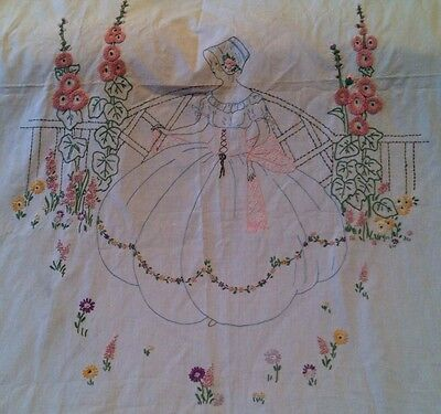 Antique Vtg Hand Stitched Crewel  Embroidered Bedspread Bed Cover + Dust Ruffle