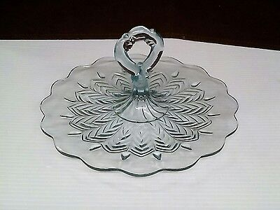 Vintage Glass Cake Plate/Dessert Plate/Appetizer Plate w/Green Hue Center Handle