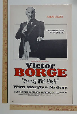 Victor Borge Comedy Piano Classical Concert Poster Los Angeles Hollywood 70s80s?