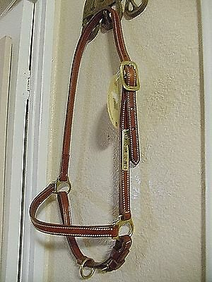 Walsh Horse Size Leather Grooming Halter Brass Hardware Del Mar Jump Name Plate