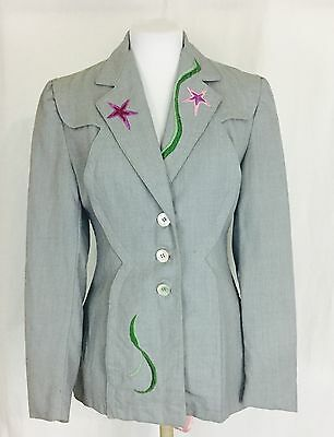 Rare True Vintage 1940's Embroidered Wool Women's Jacket. Large.