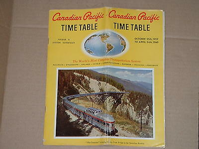 1959 CP Canadian Pacific timetable, 10/25/59