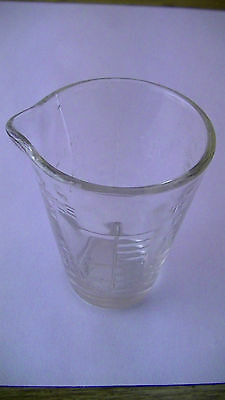 VINTAGE  GLASCO MEDICATION MEASURING GLASS APOTHECARY ML OZ  TSP TBS w SPOUT