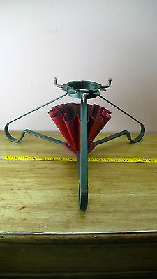 Vintage Antique S B Mfg.Co. Milwaukee WI Ruffled Christmas tree stand Red Green
