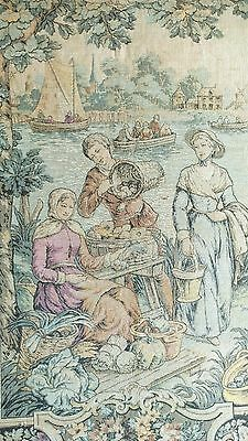 """Antique French Tapestry Boats and Commerce 25"""" x 39"""""""