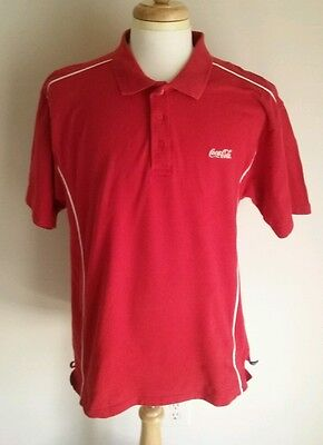 Coca Cola Polo Shirt Mens XL Cotton Red New Wave