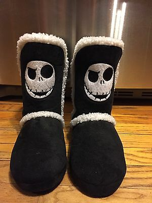 Women's Large 9 10 Nightmare Before Christmas Jack Face Plush Boot Slippers