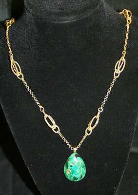 New Handcrafted Gold Chain with Green and Pirate Pendant Necklace Lobster Clasp