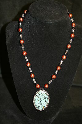 New Handcrafted African Turquoise Pearl and Crystal Glass Bead Necklace Pendant