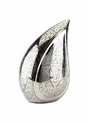 Torquay Teardrop Silver Engraved Cremation Ashes Adult Urn - UU100030A