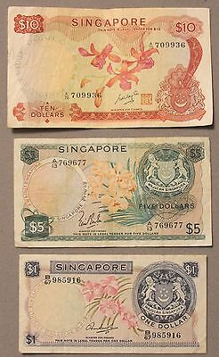 Singapore $10, $5 & $1 Dollar Currency Note Set, VF+