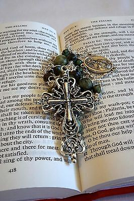 Anglican Rosary Protestant Prayer Beads Necklace (Green) Heavy duty wiring
