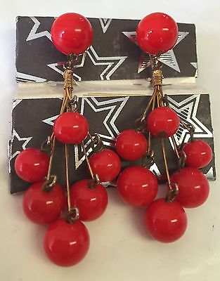 "Vintage VOGUE JWLY-""RED LUCITE BALL"" WIRE DROP-DANGLE EARRINGS-1960s MOD Couture"