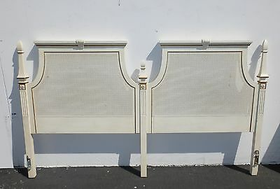 Vintage French Provincial Style White & Gold Cane HEADBOARD