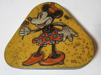 Old Pascalls 1930's Triangular Advertising Sweets Tin with Minnie Mouse  W.D.ENT