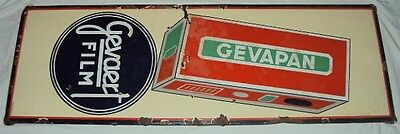 C1940's GEVAERT FILM AND GEVAPAN VINTAGE PORCELAIN ENAMEL SIGN VERY RARE OLD