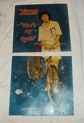 CIRCA 1960'S AVON CYCLE VINTAGE Advertising Tin Sign Rare Not Porcelain