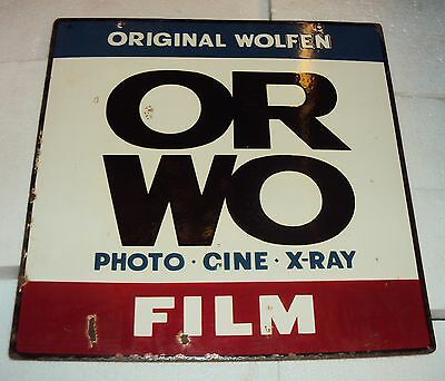 C1940'S ORWO WOLFEN FILMS VINTAGE Porcelain Enamel Sign Rare INDIA Double Sided