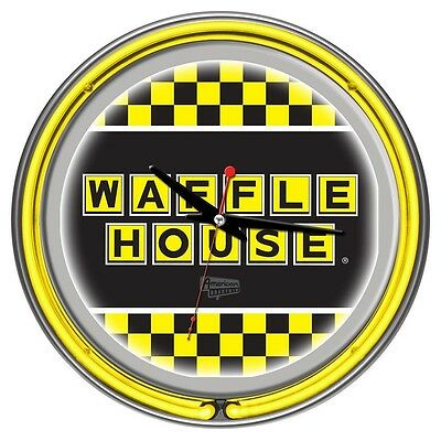 Checkered Waffle House Chrome Double Neon Ring Clock Official Licensed Logo NIB
