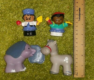 Bulk Fisher Price Little People toy doll figures black hair Elephant Horse