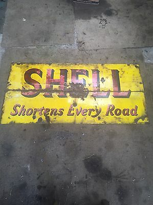 Large Shell Oil Enamel Sign Vintage Old Fuel Shortens Every Road Advertising