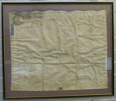 Legal Document From 1736. Indenture Framed Wax Seal 87 cm x 75 cm