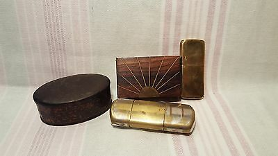 2 brass lighters and 2 Snuff boxes.
