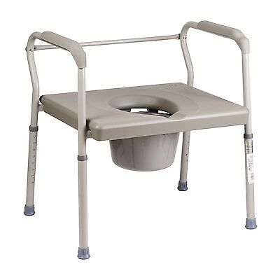Portable Bed Side Commode Wide Seat Safety Assist Adult Potty Toilet Bath Room