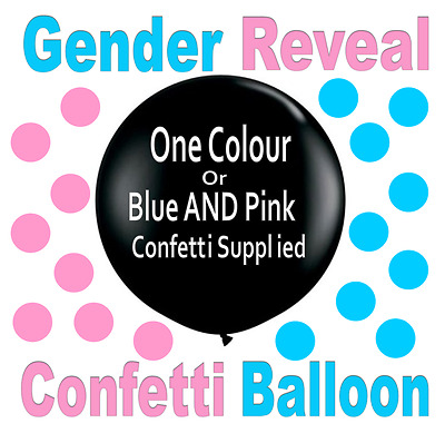GIANT 90cm Gender Reveal CONFETTI BALLOON Baby Shower Party - Choose Your Colour