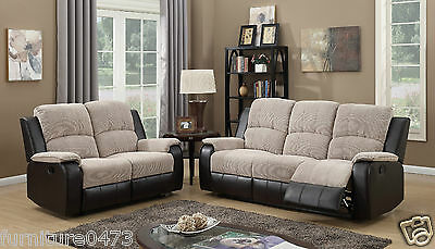Brown Beige High Grade Fabric Recliner Reclining Sofa Suite Armchair PASCARA 32