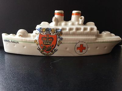 Carlton Crested China Model of HMHS Anglia. Crest of Redcar