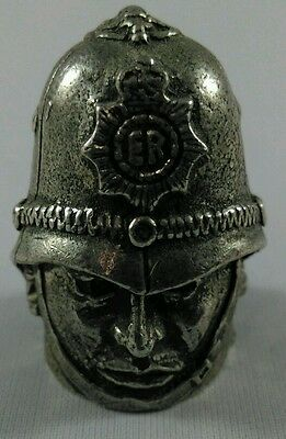 Unsual Vintage Heavy Pewter 'policemans Head' Thimble