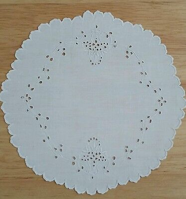 """Vintage Hand-Embroidered 8"""" Doily made from Madeira Linen, So Beautiful!"""