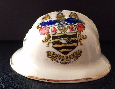 Savoy Crested China Model of a French Helmet. Crest of Blackpool