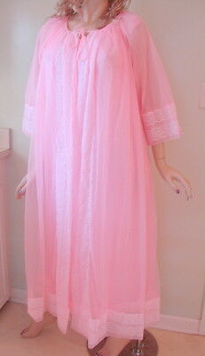 Vintage Penneys Gaymode Peignoir Nightgown Robe Chiffon Lace Pink 36