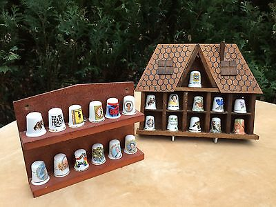 VINTAGE WOODEN DISPLAY HOUSE  Wall Mounted Thimbles 11 Apertures - Thimbles Inc