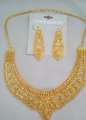 3Pc Indian Bollywood Gold Plated Fashion Jewelry Necklace Earring Set