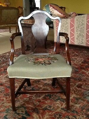 Antique Georgian Chippendale  Mahogany Elbow Chair Carver Needlepoint Seat