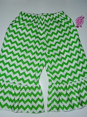 NEW LOLLY WOLLY  DOODLE Green White Chevron Zig Zag Ruffle Pants Size 4