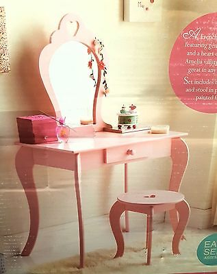 Girls Wooden Pink Vanity Set Dressing Table With Mirror & Stool BRAND NEW